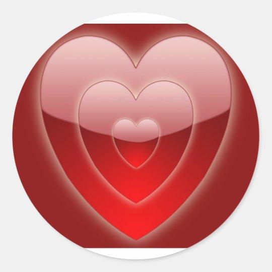 three-glass-hearts-background classic round sticker