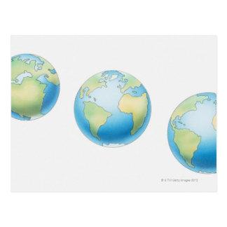 Three Globes Postcard
