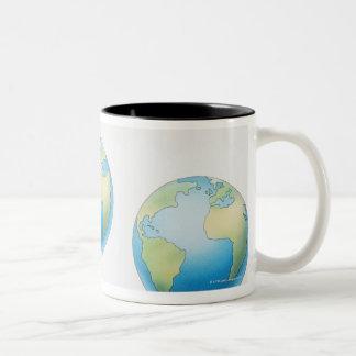 Three Globes Two-Tone Coffee Mug