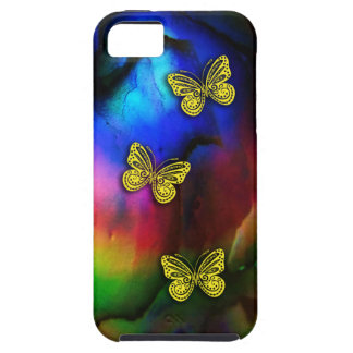 Three Gold Butterflies Rainbow Colors iphone 5 iPhone 5 Case