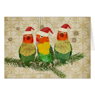 Three Golden Birds Christmas Card