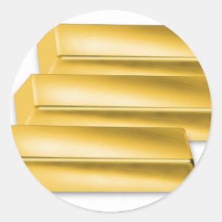 three-golden-gold bars.jpg round sticker