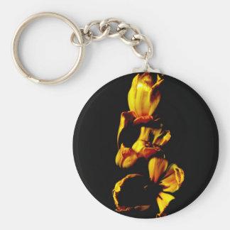 Three Golden Shiny Tulips Basic Round Button Key Ring