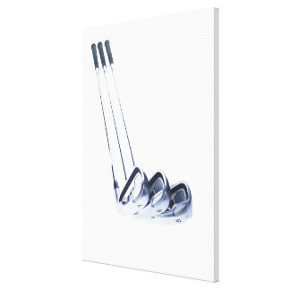 Three golf clubs on white background canvas print