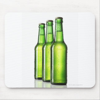 Three green bottles of beer on white background, mouse mat