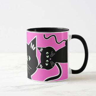 Three Green-Eyed Black Cats Retro Drawing Mug