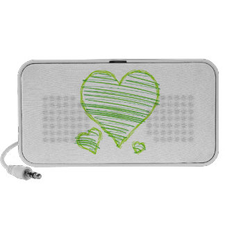 Three Green Hearts with Scribbled Lines Inside Travelling Speaker