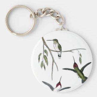 Three Green Hummingbirds Basic Round Button Key Ring