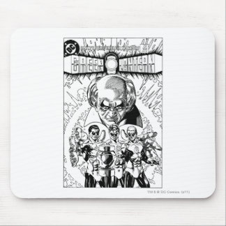 Three Green Lanterns Comic Cover, Black and White Mouse Mat