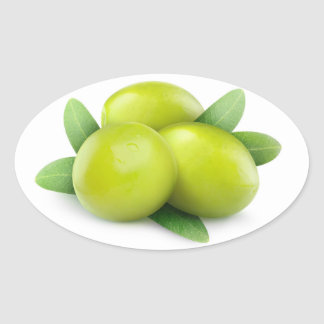 Three green olives oval sticker