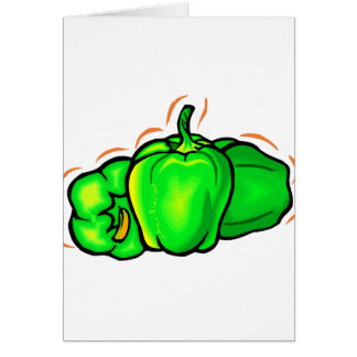 three green peppers orange lines note card