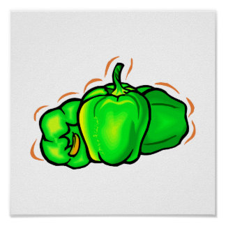 three green peppers orange lines poster