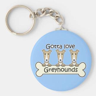 Three Greyhounds Basic Round Button Key Ring