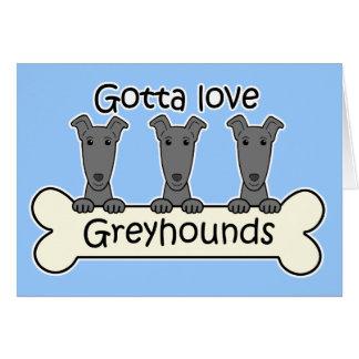 Three Greyhounds Greeting Card