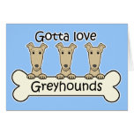 Three Greyhounds Greeting Card