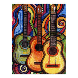 Three Guitars Post Cards
