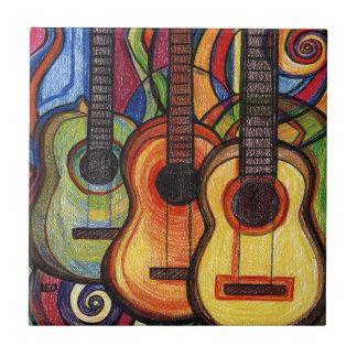 Three Guitars Small Square Tile