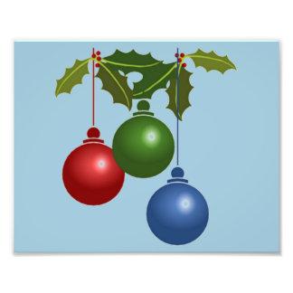 Three Hanging Christmas Balls Photographic Print