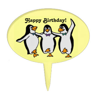 Three Happy Dancing Penguins Birthday Party Cake Picks