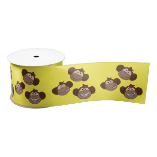 Three happy Monkeys Satin Ribbon