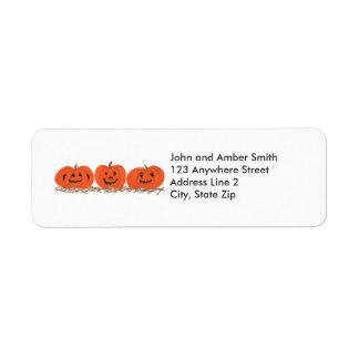 Three Happy Pumpkins Halloween Address Labels