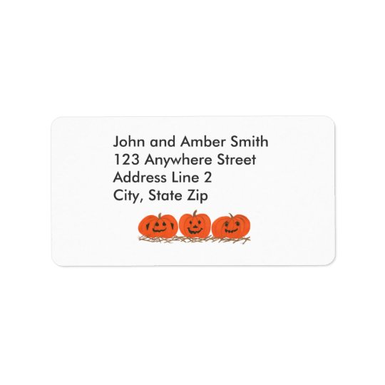 Three Happy Pumpkins Halloween Address Labels