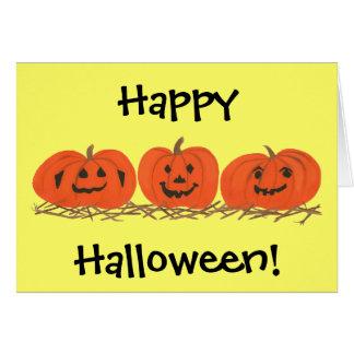 Three Happy Pumpkins in Hay Halloween Cards