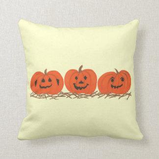 Three Happy Pumpkins in Hay Halloween Pillow