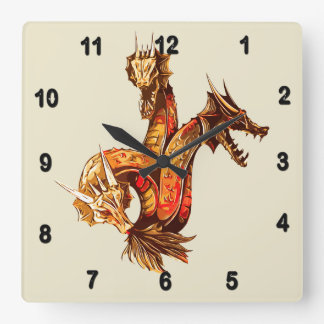 Three Headed Copper Dragon Square Wall Clock
