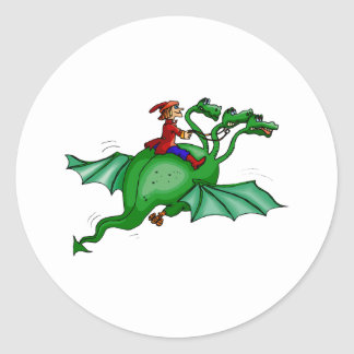 Three-Headed Dragon with Rider Round Sticker