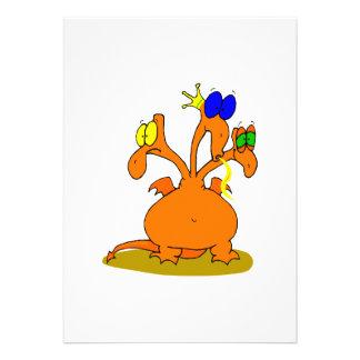 Three Headed Orange Dragon Custom Invitations