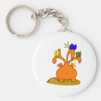 Three Headed Orange Dragon Keychains