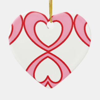 Three hearts in lucky number 8 style ceramic heart decoration