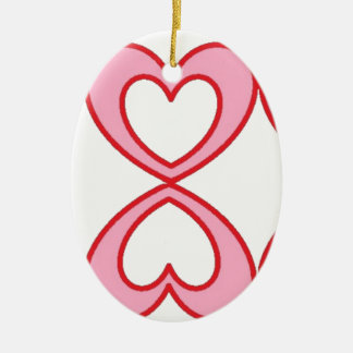 Three hearts in lucky number 8 style ceramic oval decoration