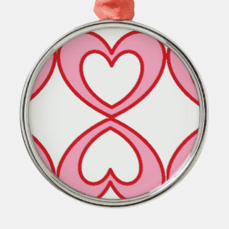 Three hearts in lucky number 8 style Silver-Colored round decoration