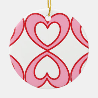 Three hearts in lucky number 8 style round ceramic decoration