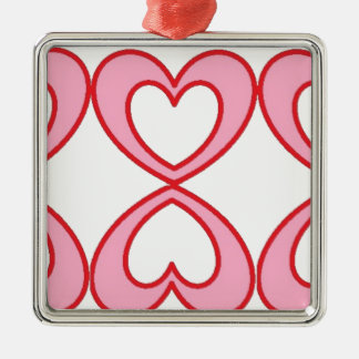 Three hearts in lucky number 8 style Silver-Colored square decoration