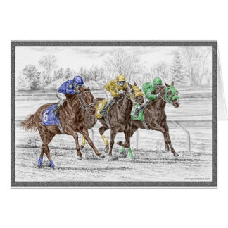 Three Horse Race - Neck and Neck Greeting Card