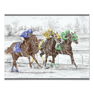 "Three Horse Race - Neck and Neck 4.25"" X 5.5"" Invitation Card"