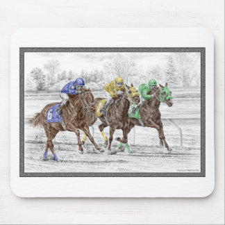 Three Horse Race - Neck and Neck Mouse Pad
