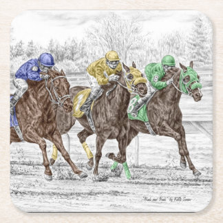 Three Horse Race - Neck and Neck Square Paper Coaster