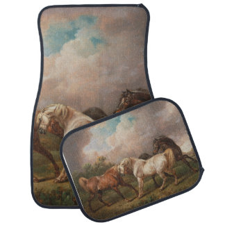 Three Horses in a Stormy Landscape Car Mat