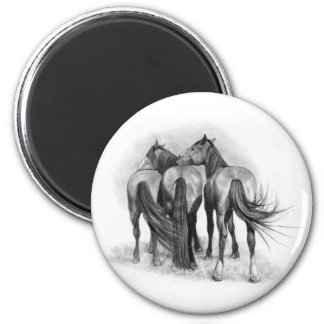Three Horses: Rear Ends: Affection: Pencil Art Magnet