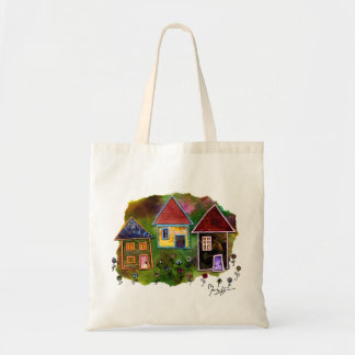 Three House Collage with Flowers Tote Bag