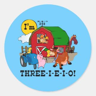 THREE-I-E-I-O ROUND STICKER