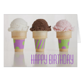 Three Ice Cream Cones Birthday Card