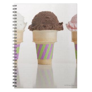 Three ice cream cones note books
