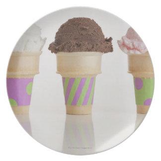 Three ice cream cones plate