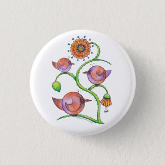 'Three in a tree' Birds 3 Cm Round Badge
