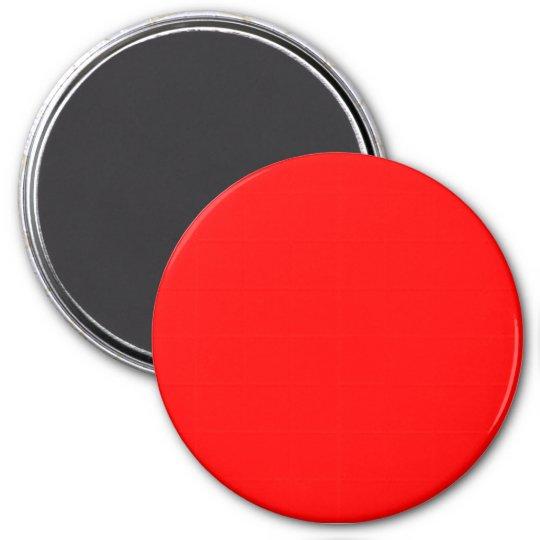 Three Inch Round Fridge Magnet: Red. Magnet